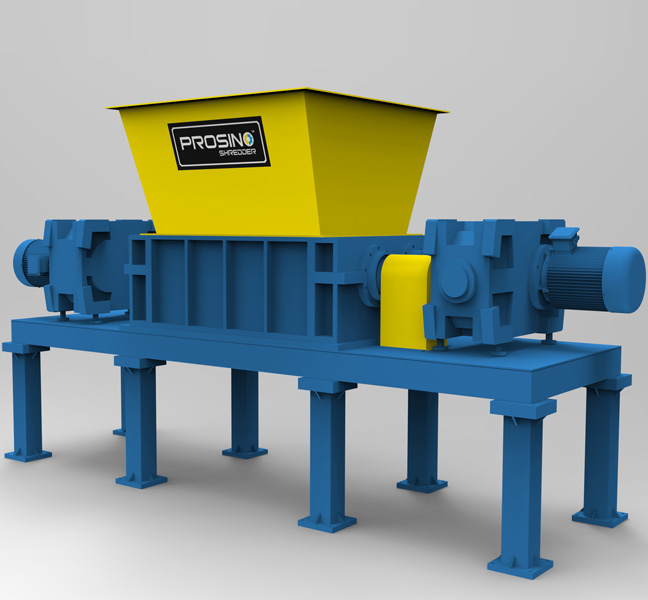 Twin Shaft Shredder with Shearing Blades – Dual Motor