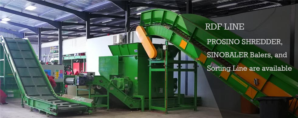 RDF line, RDF shredder, RDF baler and sorting line